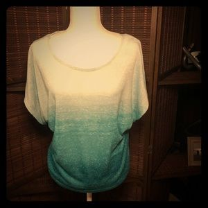 Ombre' blue to teal blouse